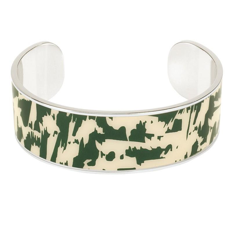 Bracelet jonc manchette argenté JOY imprimé fantaisie vert & sable