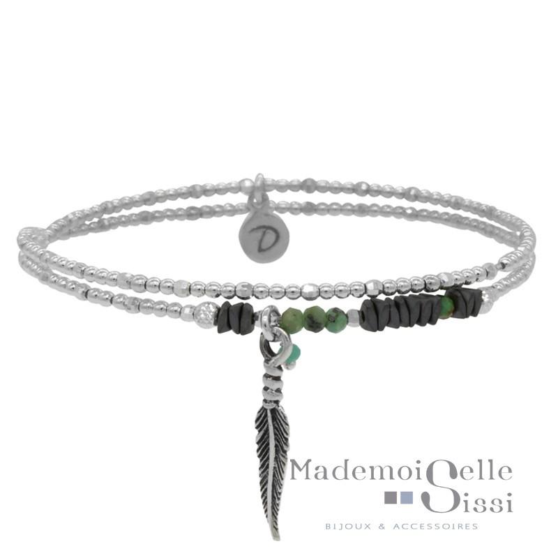 bracelet multi tours argent h matites perles vertes d cor plume. Black Bedroom Furniture Sets. Home Design Ideas