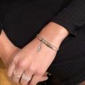Bracelet multi tours argent Hématites Perles Vertes & Décor Plume