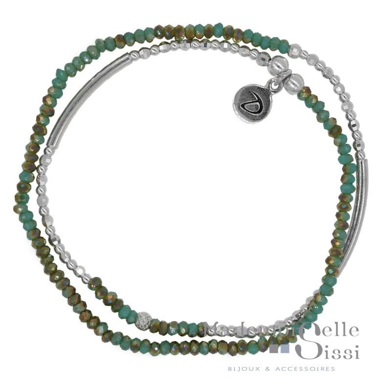 Bracelet multi tours Fitness argent - Perles vertes
