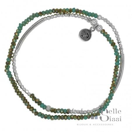 Bracelet multi-tours Fitness argent - Perles vertes