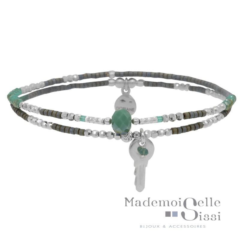 bracelet multi tours argent perles vertes pendentif cl. Black Bedroom Furniture Sets. Home Design Ideas