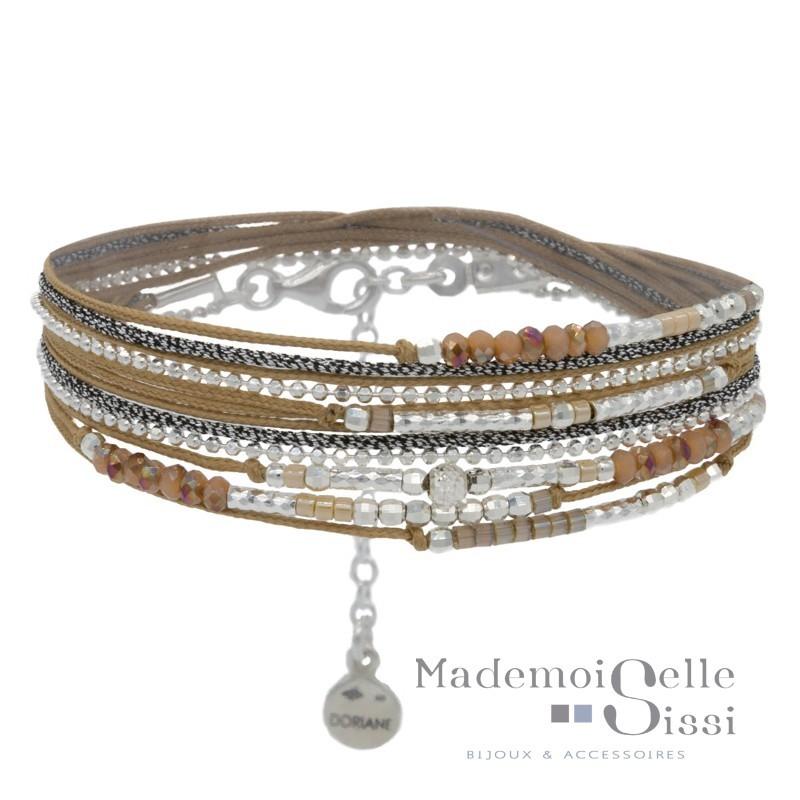 Bracelet multi tours Egérie argent - Perles beiges
