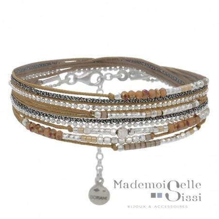 Bracelet multi tours Egérie argent - Cordons & Perles beiges