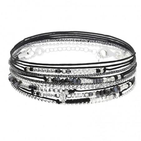 Bracelet multi-tours Egérie argent - Cordons noirs & perles noires