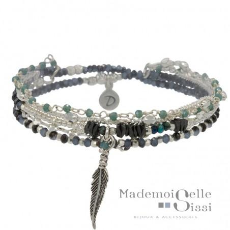 Bracelet élastique multi tours Argent - Perles turquoises hématites & Plume