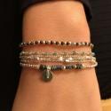 Bracelet élastique multi-tours argent - Médaille & Hématites perles vertes