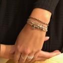 Bracelet élastique multi tours médaille argent & Perles vertes