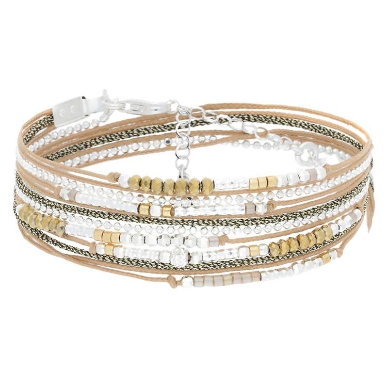 Bracelet multi tours Egérie argent - Perles beiges dorées