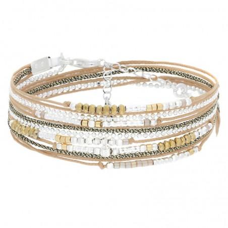 Bracelet multi-tours Egérie argent Perles & cordons beige doré