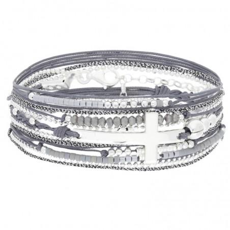 Bracelet multi tours argent cordons gris & Croix argent