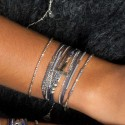 Bracelet multi tours argent cordons gris & Croix en argent