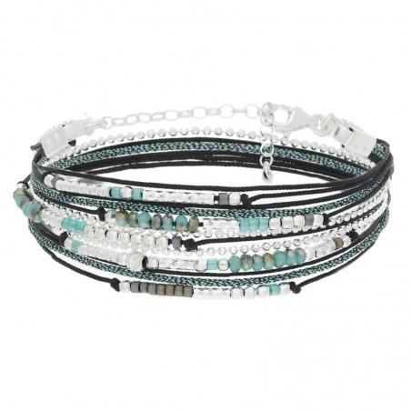 Bracelet multi tours Egérie argent - Cordons & Perles noires et vertes