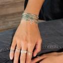 Bracelet multi tours Egérie argent - Perles beiges & vertes