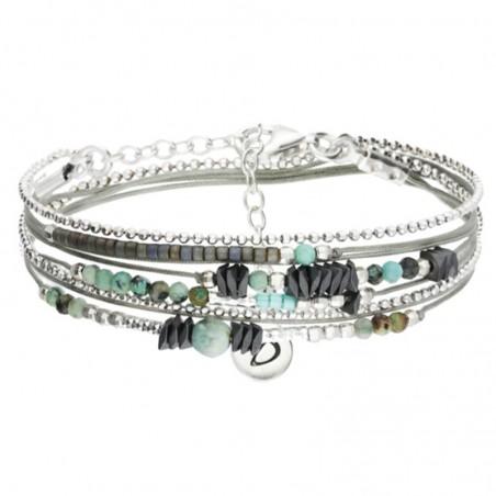 Bracelet multi tours Argent - Cordons gris & Perles turquoises hématites