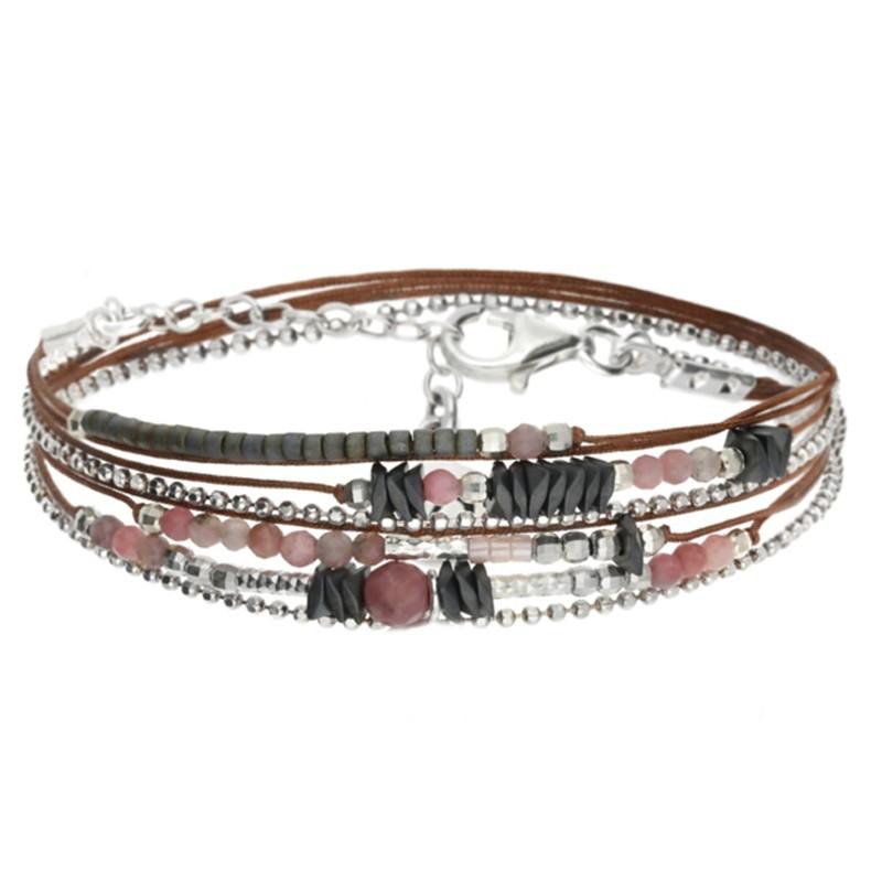 Bracelet multi-tours Argent - Cordons choco & Perles roses hématites