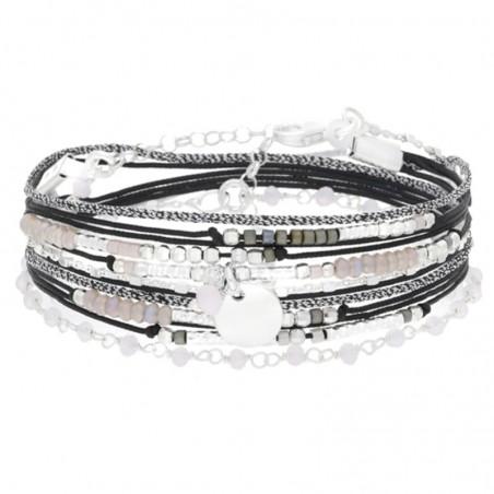 Bracelet multi-tours cordon chaîne argent - Noir Rose & Pastille