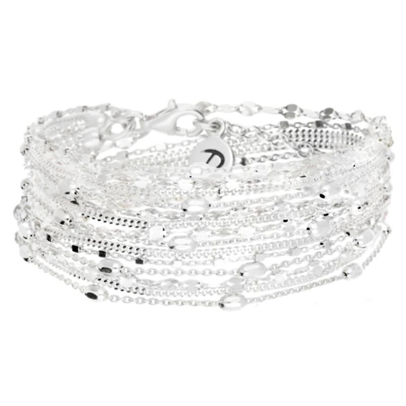 Bracelet multi-tours Argent - Sept chaînes & Sterling cube ovale