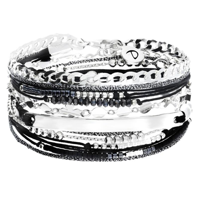 Bracelet multi-tours cordon noir chaîne argent - Gourmette & Plaque d'identité