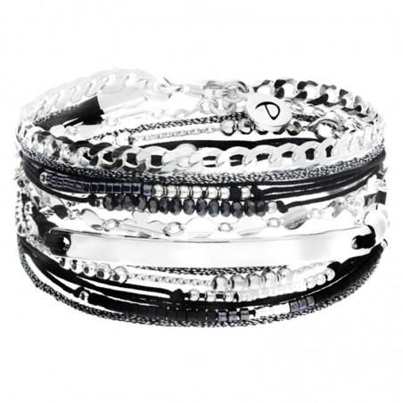 Bracelet multi-tours cordon noir chaîne argent - Gourmette & Plaque
