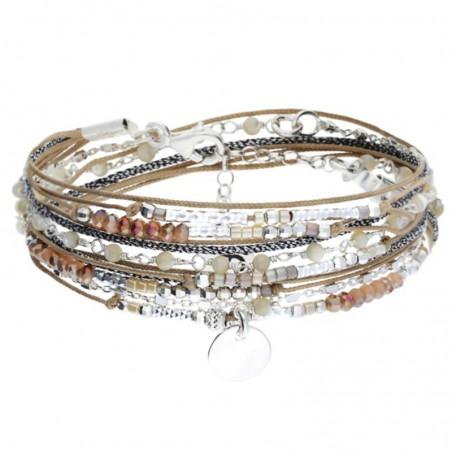Bracelet multi-tours cordons chaîne argent - Perles Beige & Pastille