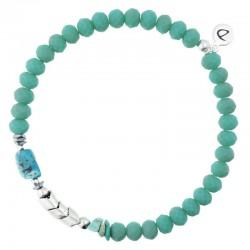 Bracelet homme élastique argent - Pierres de feu vertes & Turquoise