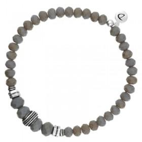 Bracelet Doriane - bracelet homme élastiqué argent & Pierres grises - ROCK IN GREY