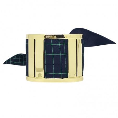Bracelet Grande Manchette Dorée - Foulard soie Dictée bleu marine rayé vert