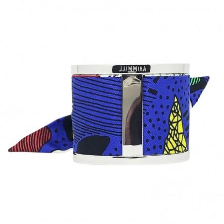 Bracelet Grande Manchette Argent - Jonc & Foulard soie multicolor