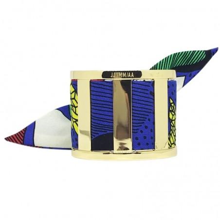 Bracelet Grande Manchette Dorée - Jonc & Foulard soie multicolor