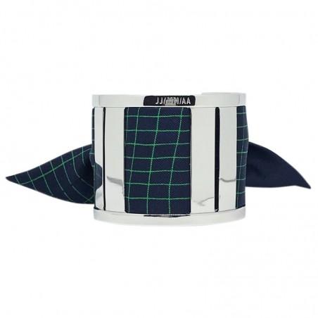Bracelet Grande Manchette Argent - Foulard soie dictée bleu marine rayé vert