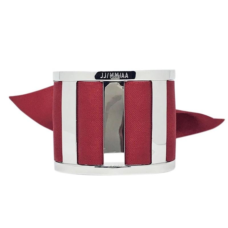 Bracelet Grande Manchette Argent - Jonc & Foulard soie bordeaux