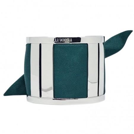 Bracelet Grande Manchette Argent - Jonc & Foulard soie vert sapin