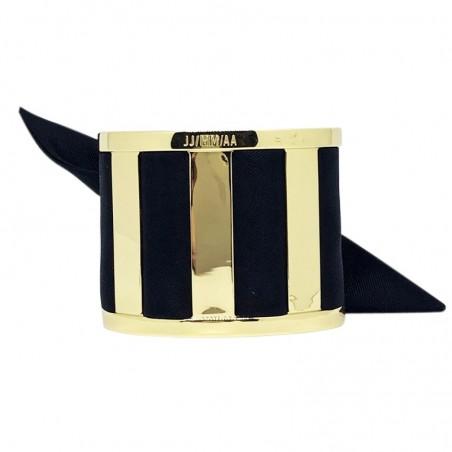 Bracelet Grande Manchette Dorée - Jonc & Foulard soie noir