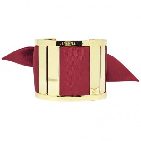 Bracelet Grande Manchette Dorée - Jonc & Foulard soie bordeaux