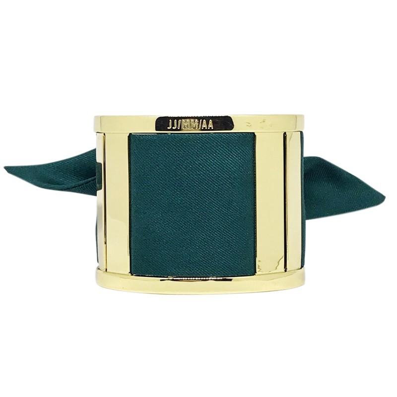 Bracelet Grande Manchette Dorée - Jonc & Foulard soie vert sapin