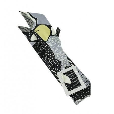 Bracelet à nouer - Cadran argent & Foulard soie jaune gris & noir