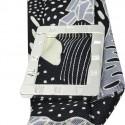 Bracelet à nouer - Cadran argent & Foulard soie noir gris et jaune