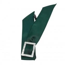 Bracelet à nouer - Cadran argent & Foulard soie vert sapin