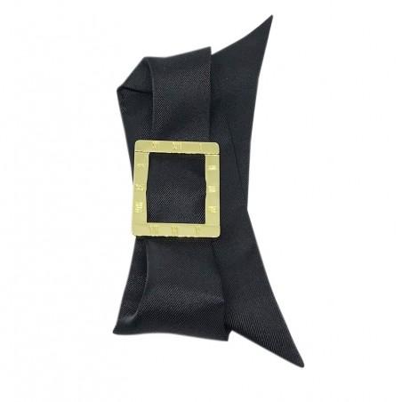 Bracelet à nouer - Cadran doré & Foulard soie noir