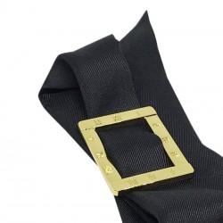 Bracelet à nouer - Cadran argent & Foulard soie noir
