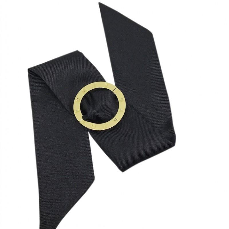 a227734c0e1b Bracelet à nouer - Cadran Montre doré   Foulard soie noir