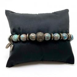 Bracelet homme SONORA CRAZY- Jaspes bleues & perle gravée étoiles