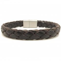Bracelet jonc large homme - Cuir tressé brut rond marron & boucle métal - Loop and Co