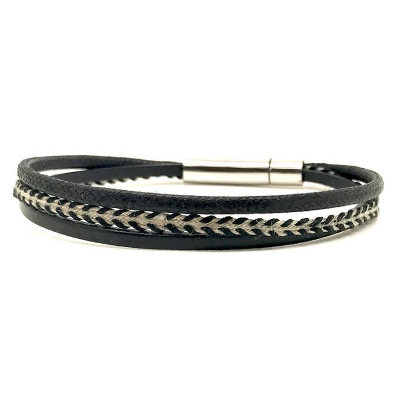 3b077bf2d0cb Bracelet jonc multi-rangs - Mix cuir coton noir beige   boucle métal