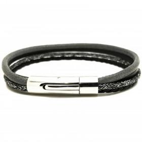 Bracelet jonc multi-rangs - Mix cuir coton noir gris & boucle métal