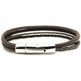 Bracelet jonc multi-rangs - Mix cuir coton marron & boucle métal
