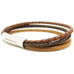 Bracelet jonc multi-rangs - Mix cuir coton camel marron & boucle métal
