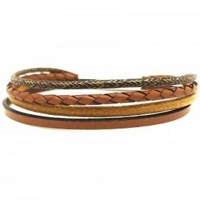 Bracelet jonc multi-rangs - Mix cuir coton camel marron & boucle métal - Loop and Co