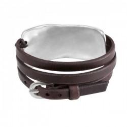 Bracelet multi-tours LIADO - Cuir marron & Plaque métal